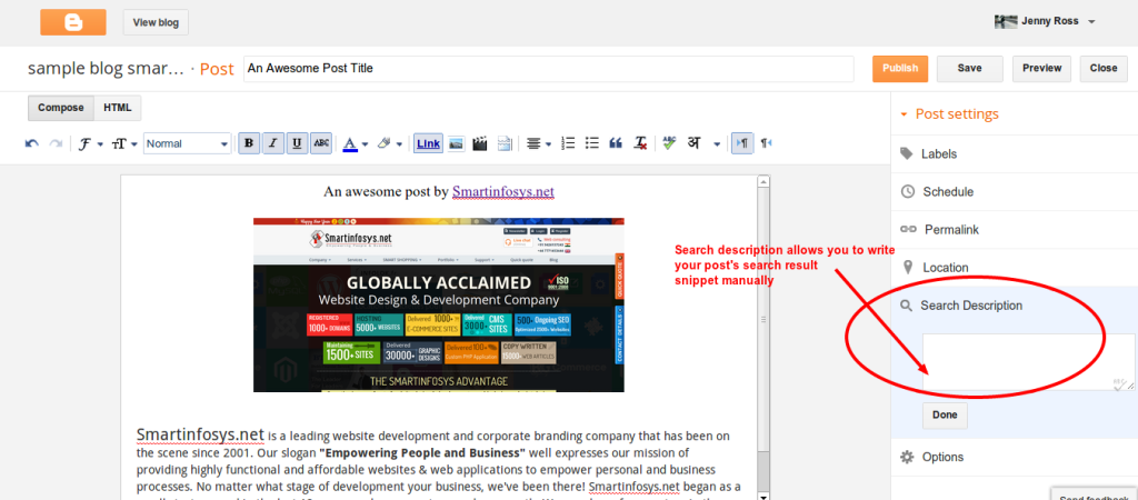 Search description in Blogger blog: screenshot