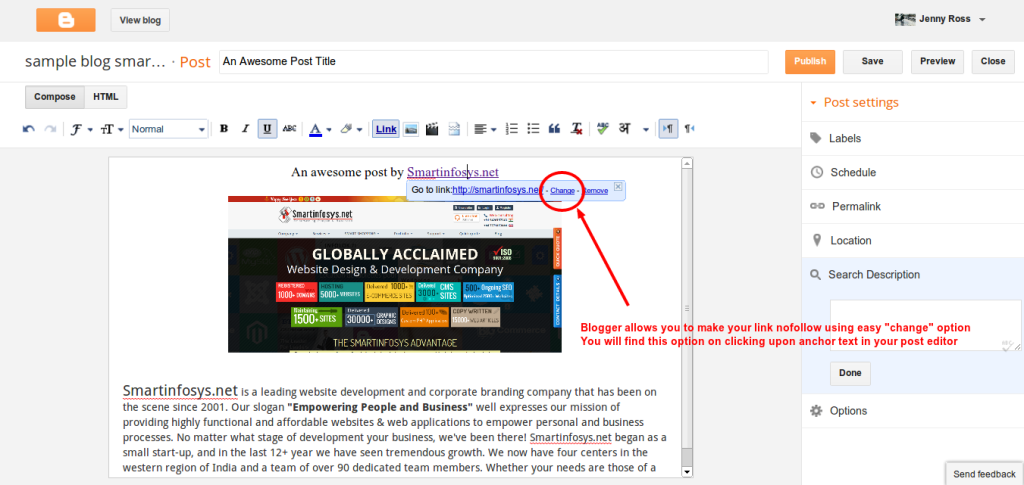 link options in blogger: SCREENSHOT