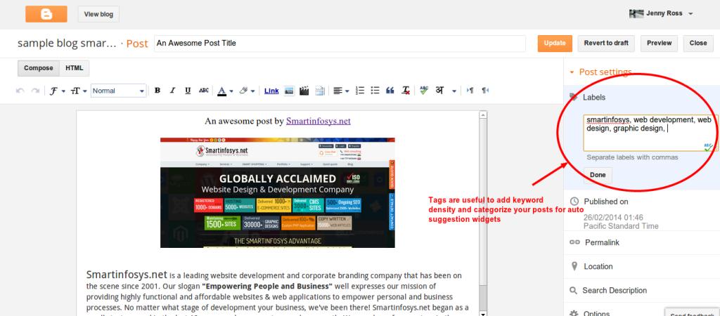 Adding tags into blogger blog posts: screenshot