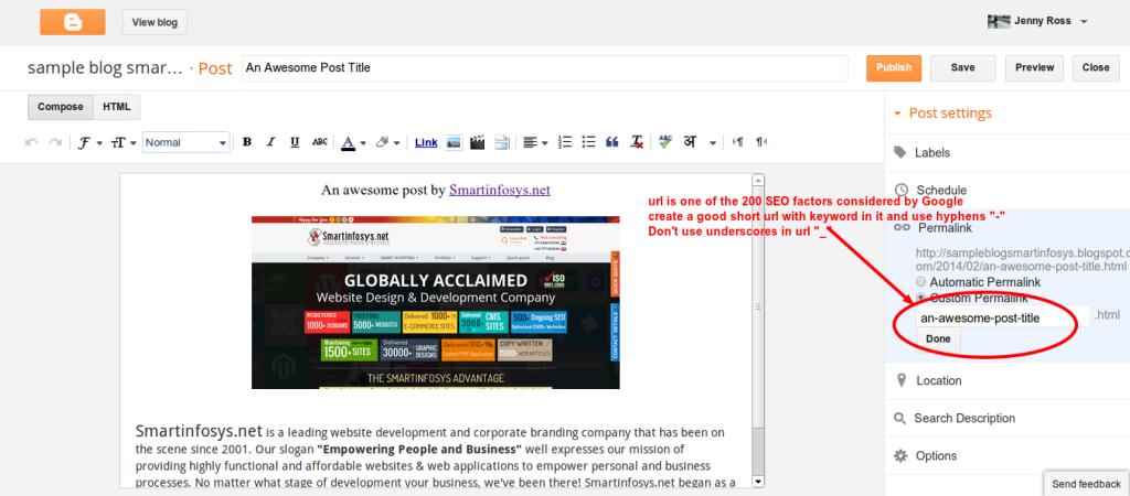 Customizing blogpost link in blogger: screenshot