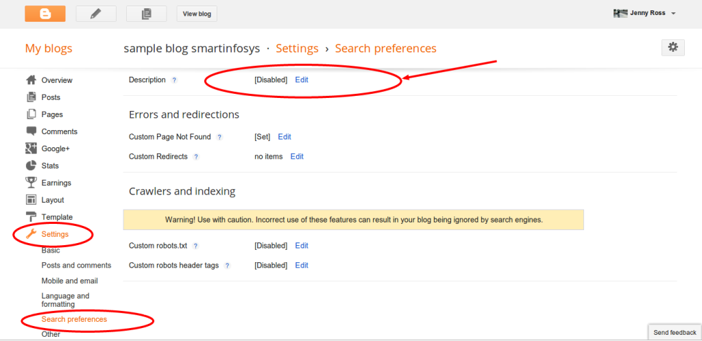 setting meta description for blogspot blog