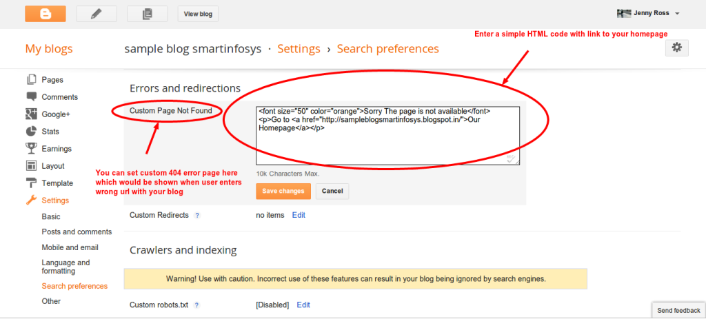 entering custom 404 error page in your blogspot blog