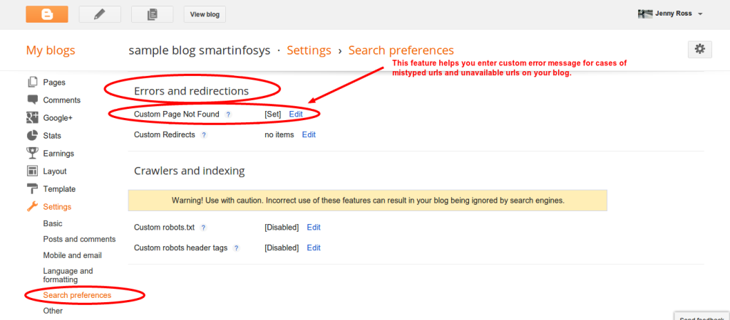 Custom error page in blogger: screenshot