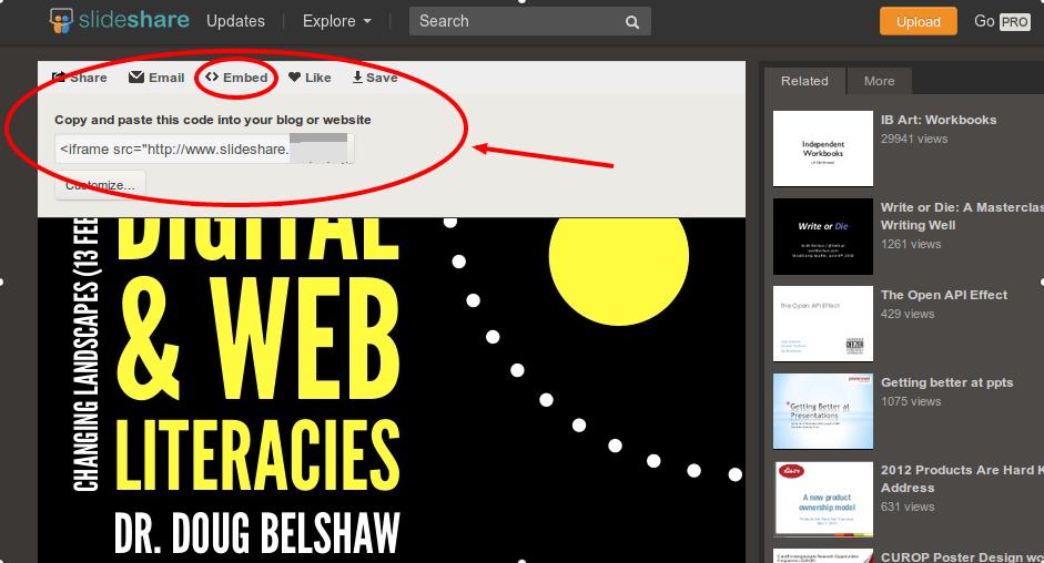 Screenshot of Slide share embed code for linking