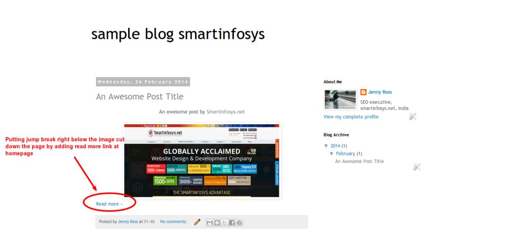Jump break in a blogspot blog: screenshot