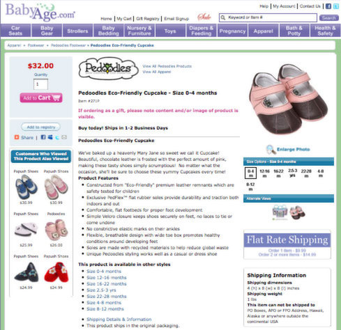 Babyage.com screenshot for AB case study