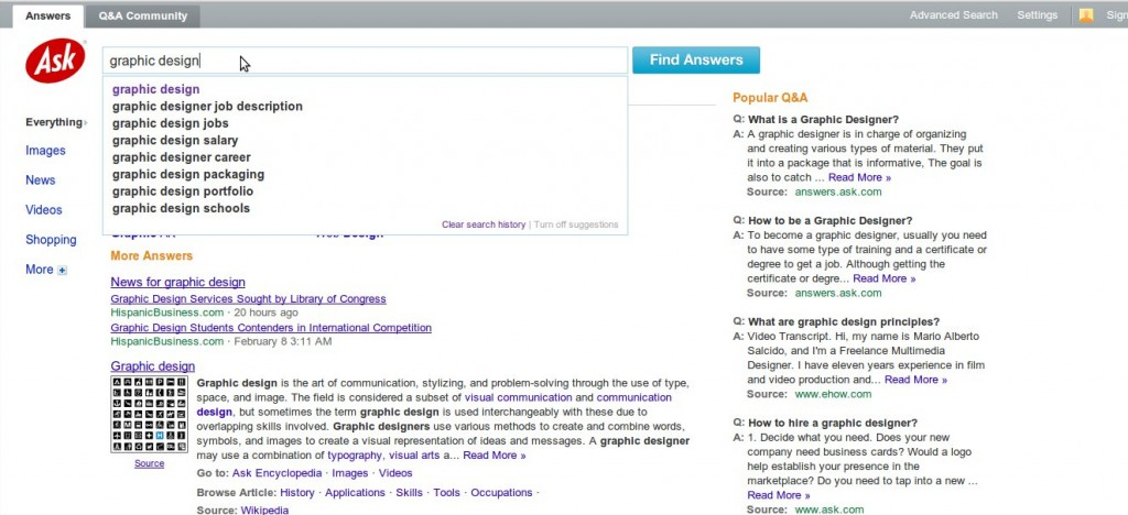 Ask.com screenshot