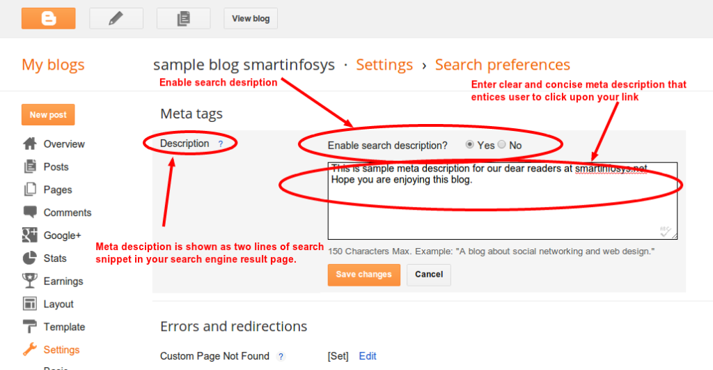 How to set meta description for your blog