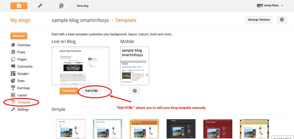 Editing HTML template in blogger blog: screenshot