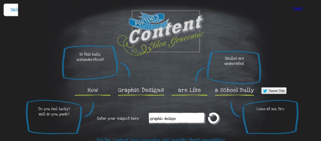 Portent content idea tool screenshot