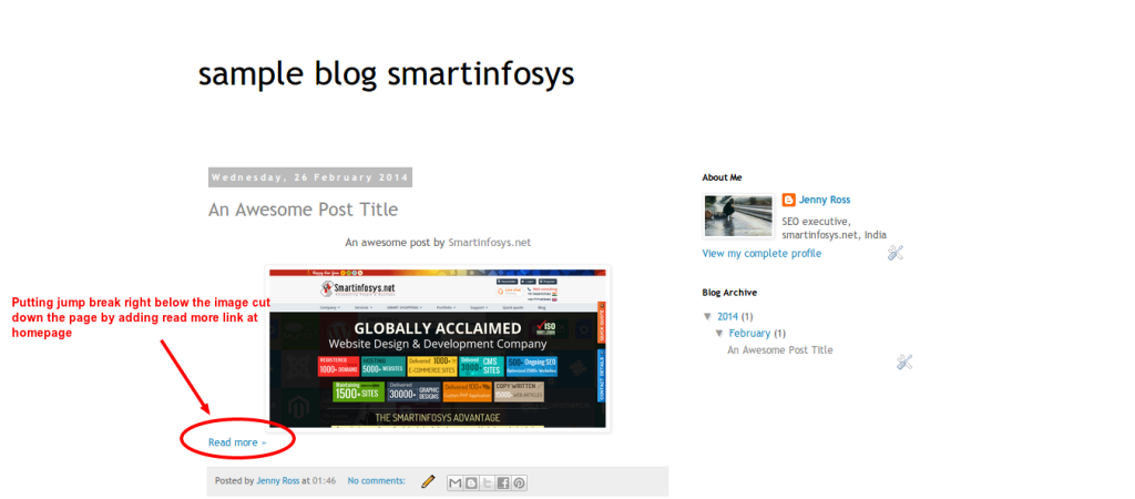 Jump break in a blogspot blog: screenshot