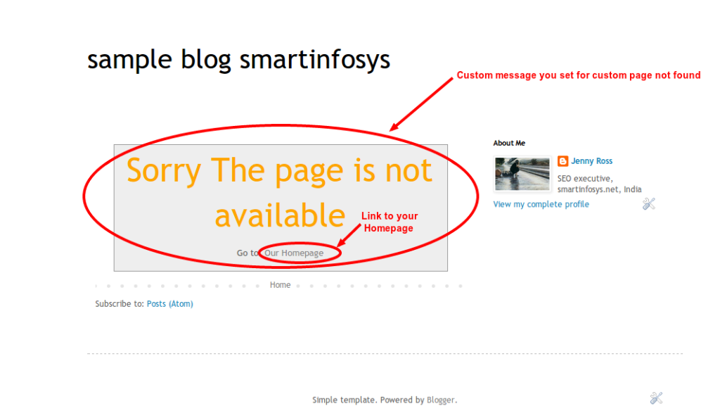 404 custom set error page in blogger: screenshot