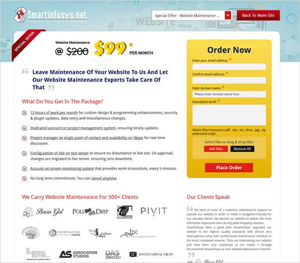 Website Maintenance Service at $99 per month